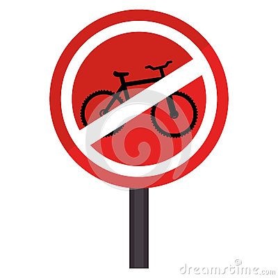 Circular Contour Road Sign Prohibited Parking Area For Bicycles.