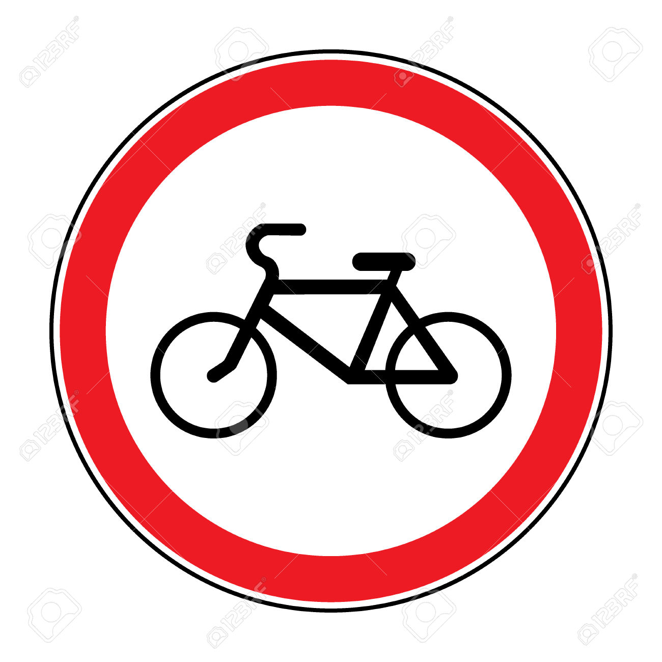 No Or Not Allowed Bicycles Symbol. Sign Indicating Prohibition.