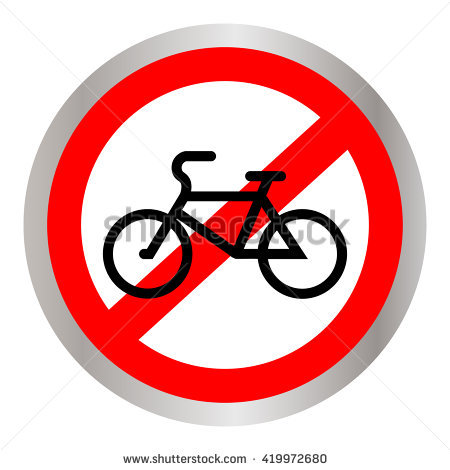 No Bicycle Bike Prohibited Symbol Sign Stock Vector 421078768.