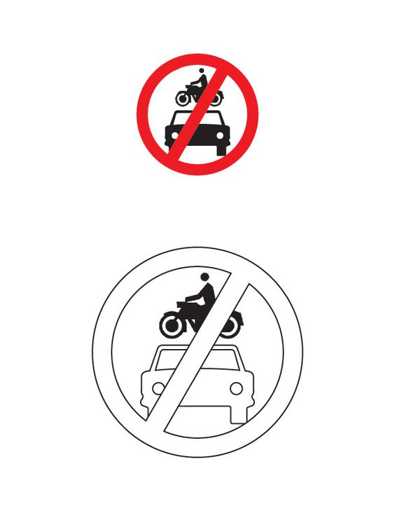 All motor vehicles prohibited traffic sign coloring page.
