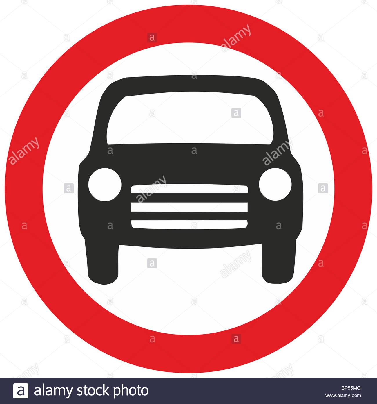 Uk Road Sign No Motor Vehicles Prohibited Cars Stock Photo.