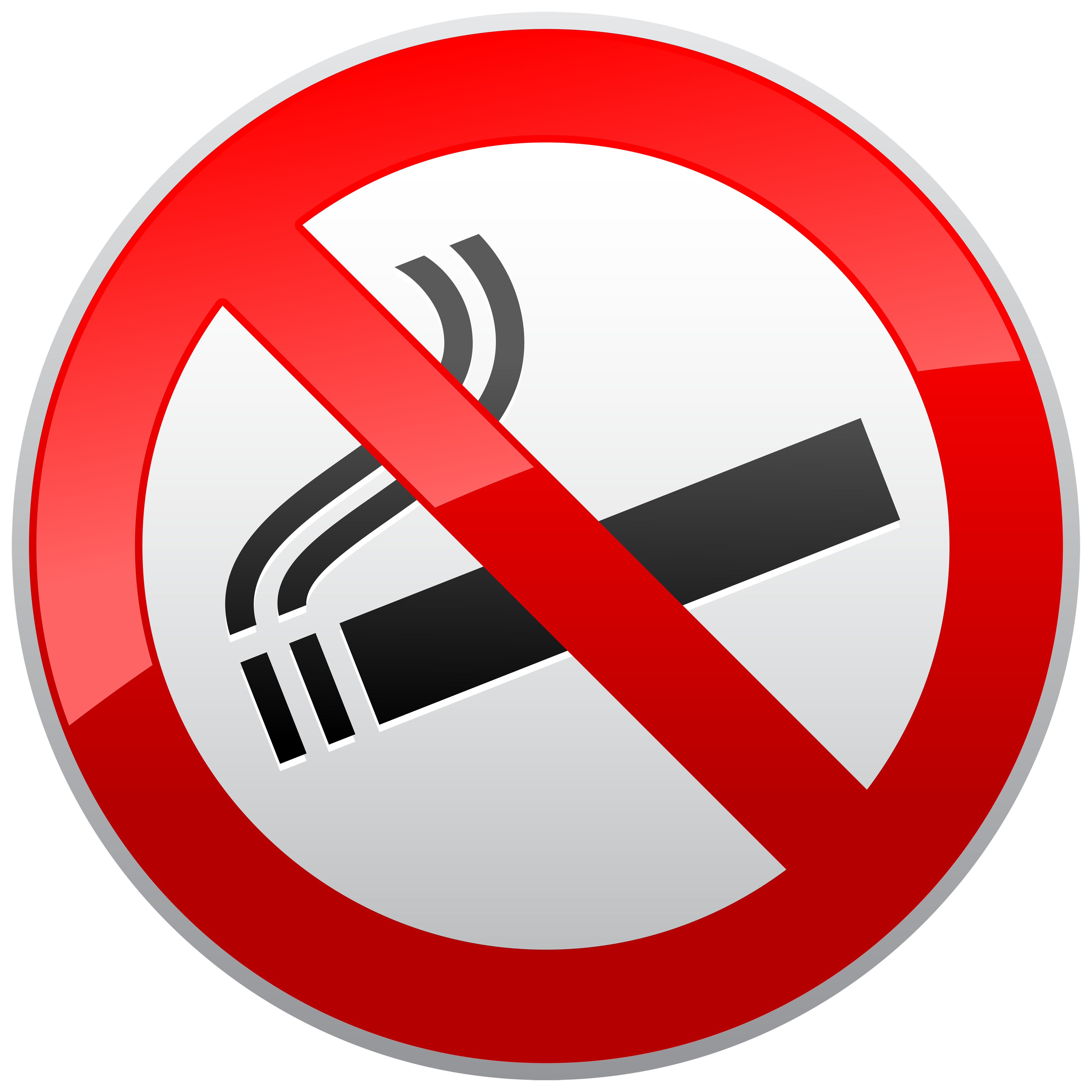 No Smoking Prohibition Sign PNG Clipart Image.