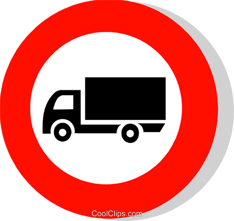 EU traffic sign, lorries prohibited Royalty Free Vector Clip Art.