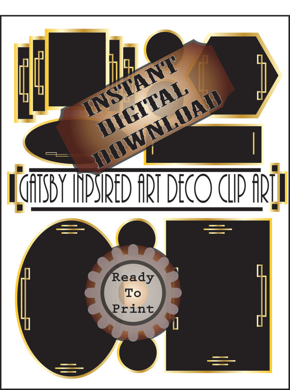 Art Deco Frames Clip Art Printable Gatsby Era Prohibition.