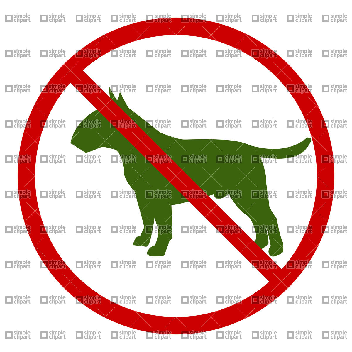Dog walking prohibitory sign Vector Image #21537.