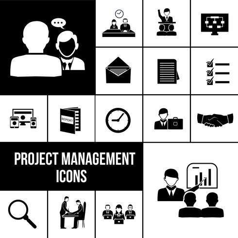 Project management icons black set.