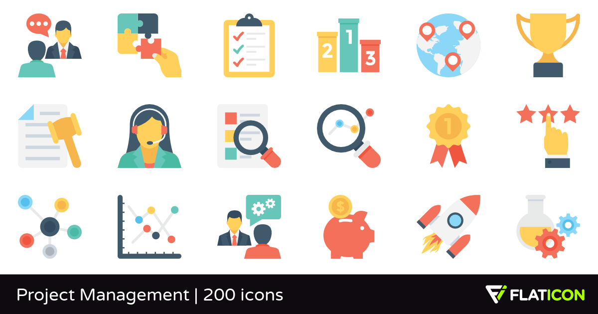 Project Management 200 free icons (SVG, EPS, PSD, PNG files).