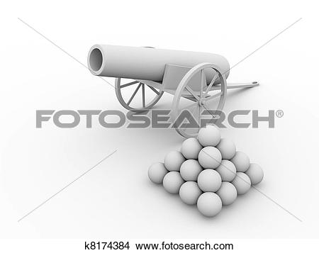 Drawings of Cannon with projectiles k8174384.