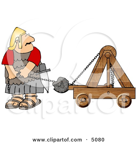 Roman Army Soldier Firing Projectiles from a Catapult Clipart by.