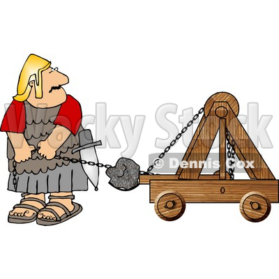 Army Soldier Firing Projectiles from a Catapult Clipart © Dennis.