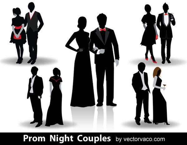 Prom Night Couples Vector Silhouettes.