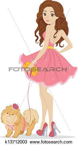 Clipart of Prom Queen with Pet Dog k13712003.
