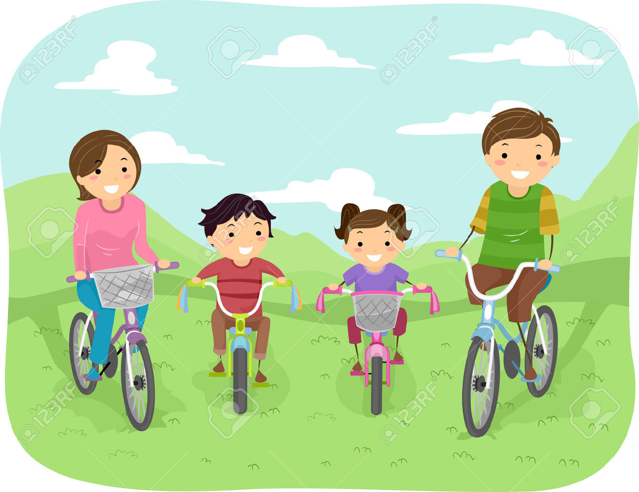 Illustration Of A Family Taking A Stroll In The Park In Their.