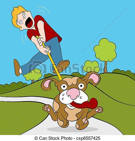Vecteur Clipart de essayer, sien, chien, homme, Promenade.