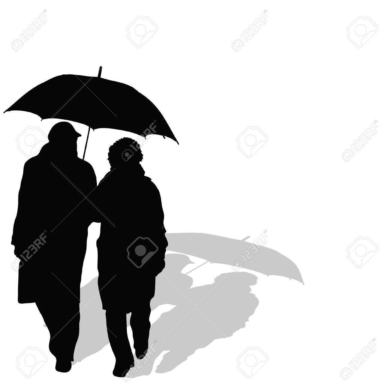 Par Promenader Med Paraply Art Vektor Silhuett Royalty.