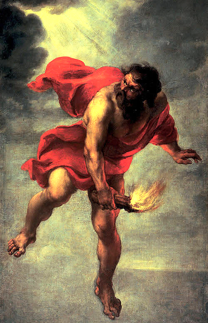 Clipart Design Stock: Prometheus Carrying Fire.