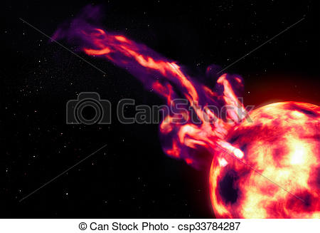 Stock Illustration of Giant solar prominence flare.