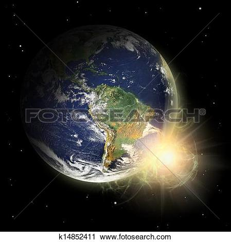 Clipart of Real Earth Planet in yellow sun. Solar spot prominence.
