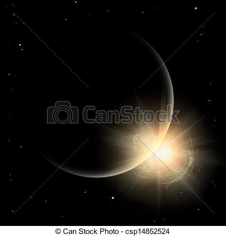 Clip Art of Some silhouette Planet in yellow sun. Solar spot.