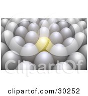 Clipart Illustration of a Prominent Red Ball In Rows Of White.