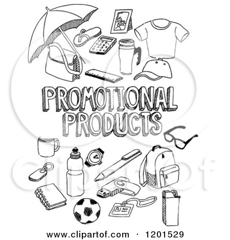 Clipart Of Black And White Sketched Promot #222840.