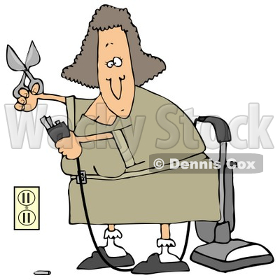 Illustration of a Lady Cutting The Ground Prong Off Of A Vacuum'e.