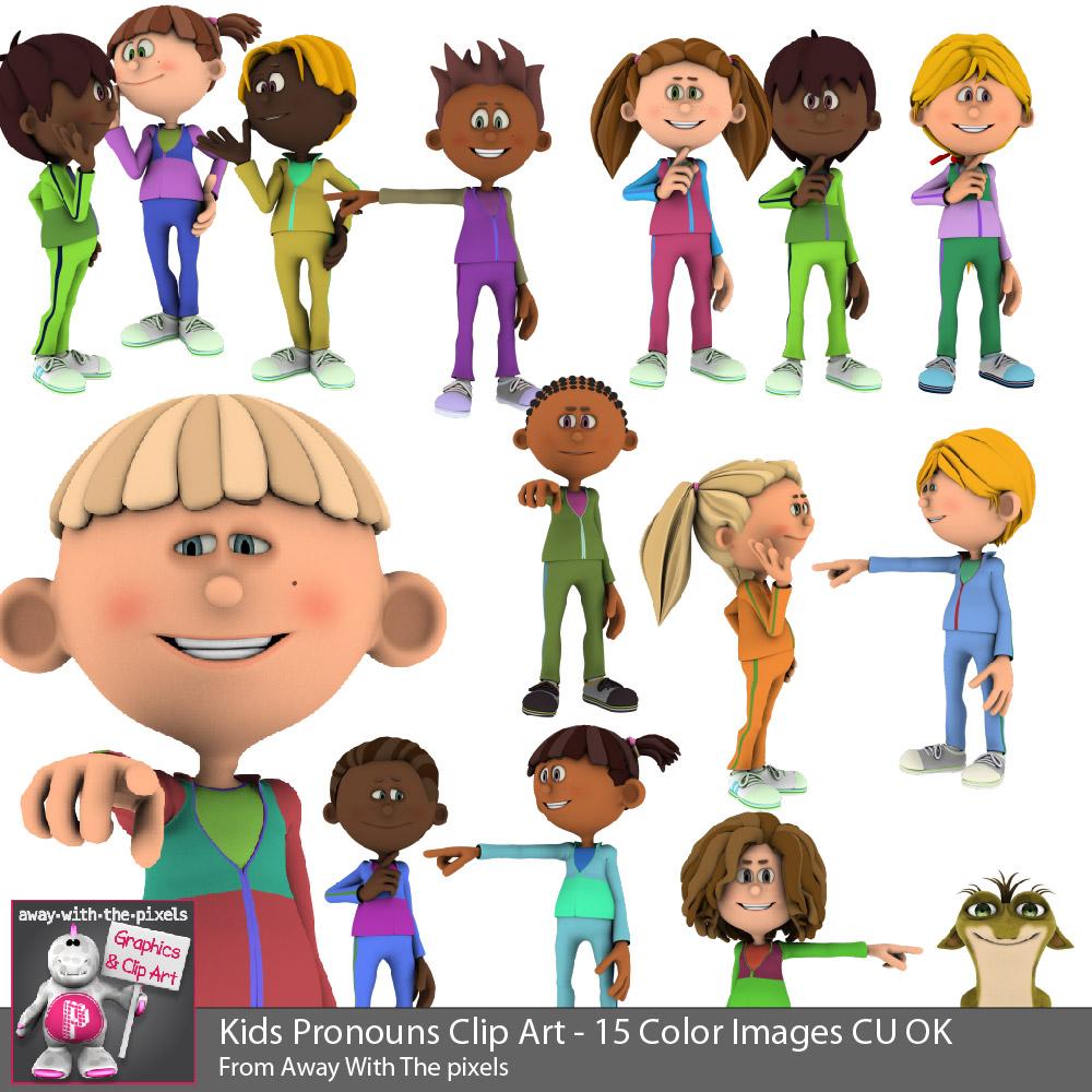 3d Kids Pronoun Clip Art for Beginner Grammar & ESL Resources.