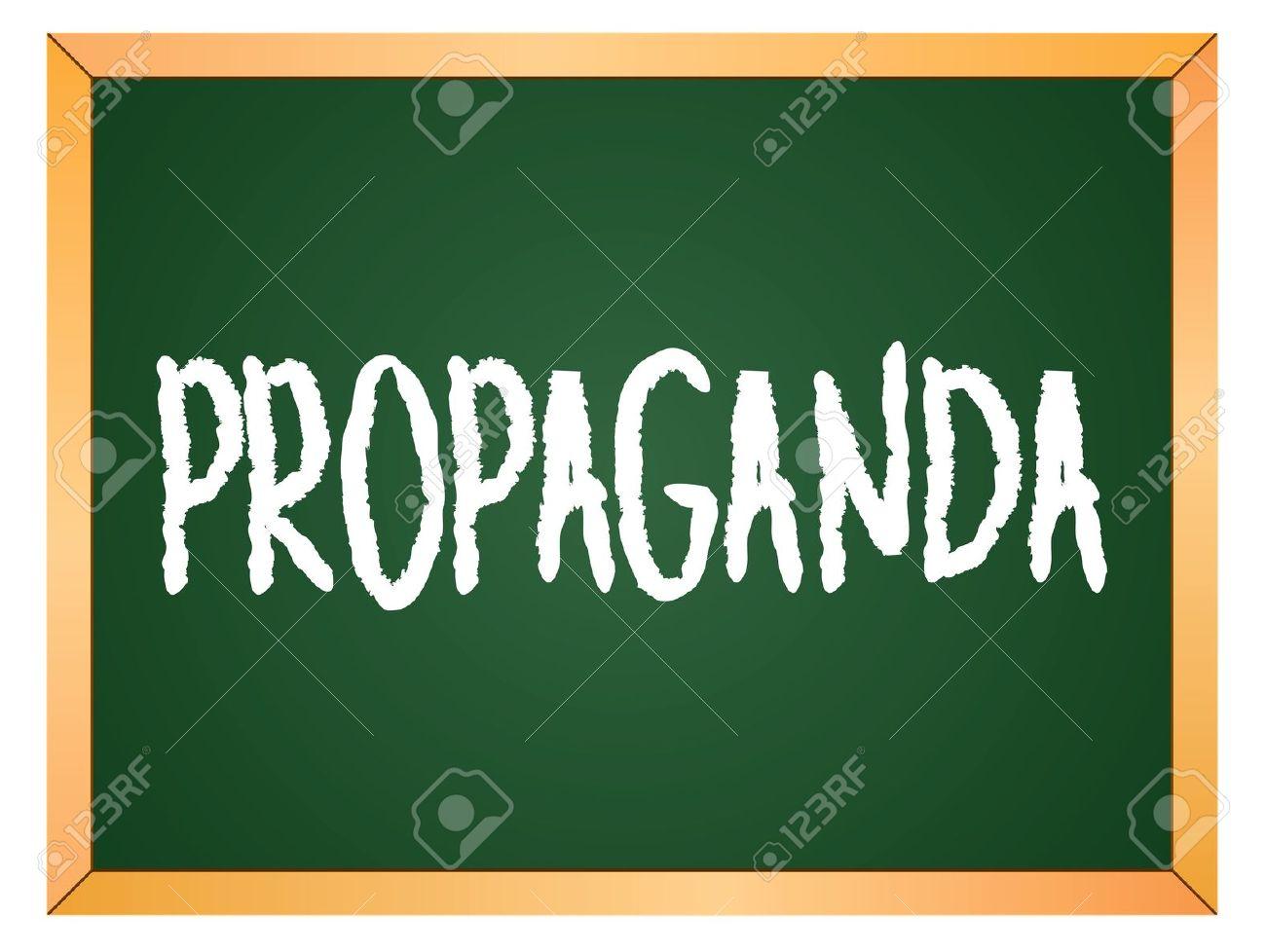 Propaganda Word Written On Chalk Coard Royalty Free Cliparts.