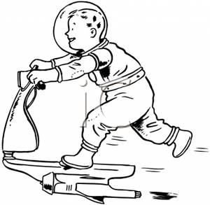 Boy In an Spacesuit Riding a Jet Propelled Scooter.