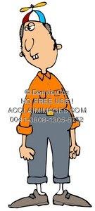 Clipart Illustration: Nerd Boy Wearing Propeller Beanie.
