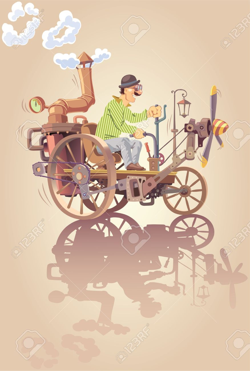 The Happy Inventor Is Riding His Own Oldschool Steam Car With.