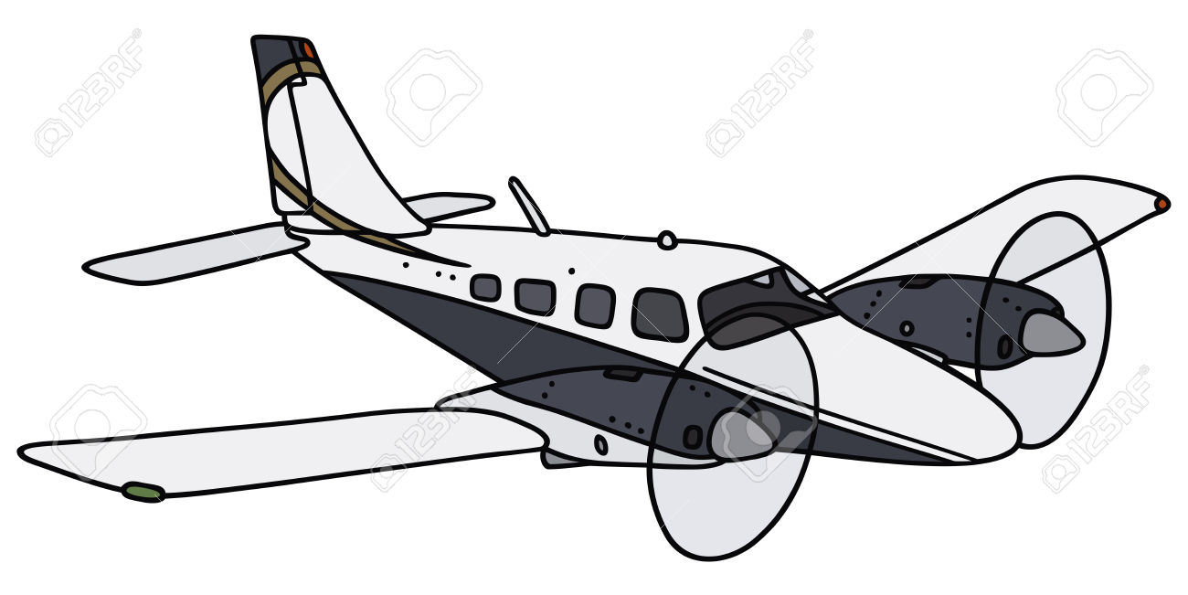 Hand Drawing Of A Twin Engine Propeller Airplane.