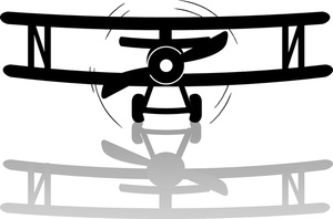 Airplane With Banner Clipart Outline