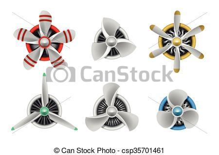 Clip Art Vector of Turbines icons. Aircraft propeller turbines.