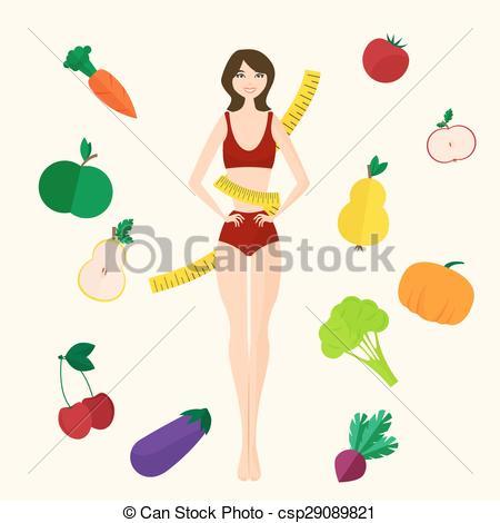 Vector Illustration of Slim girl, fresh fruits and vegetables.