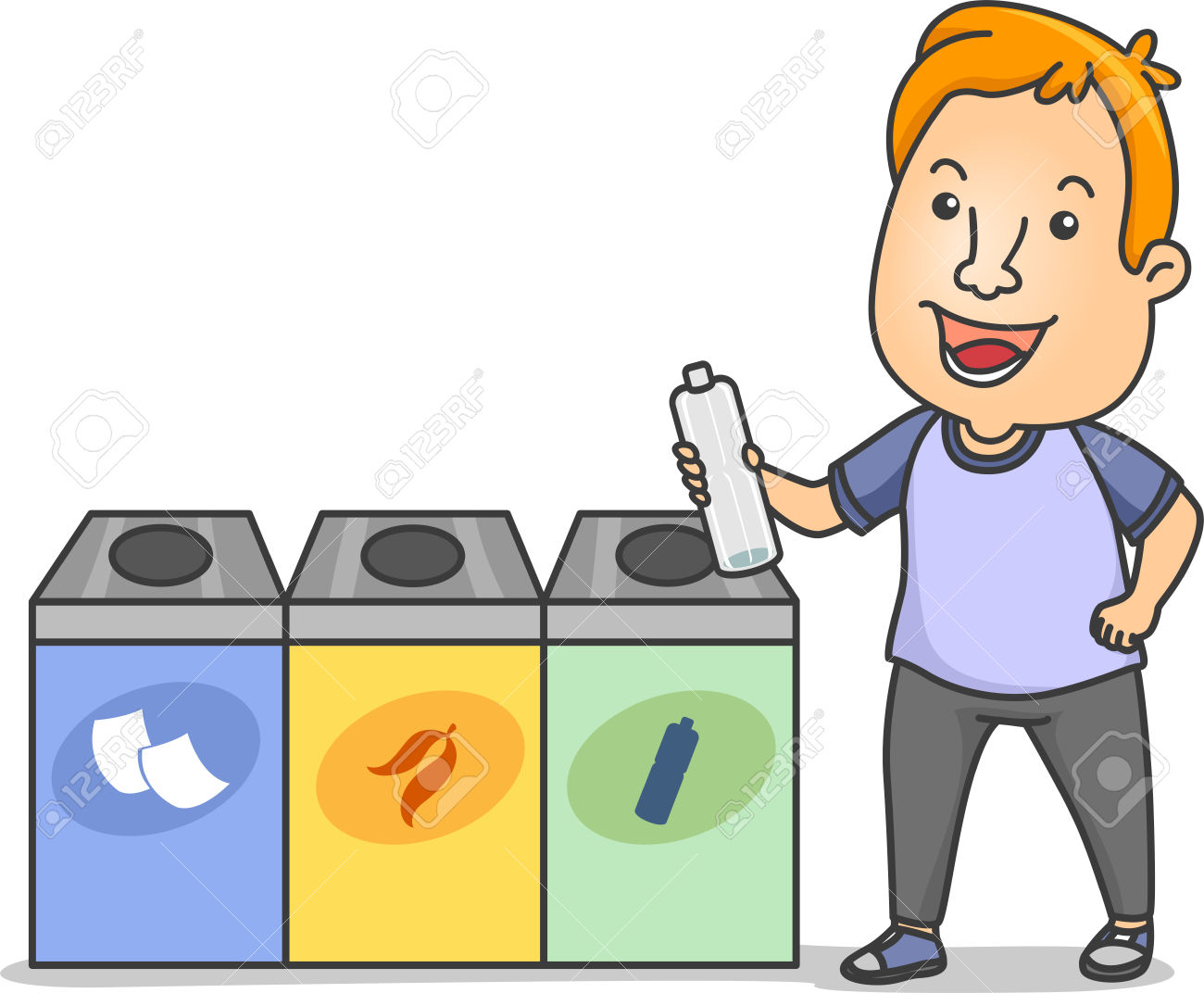 Throwing garbage properly clipart.
