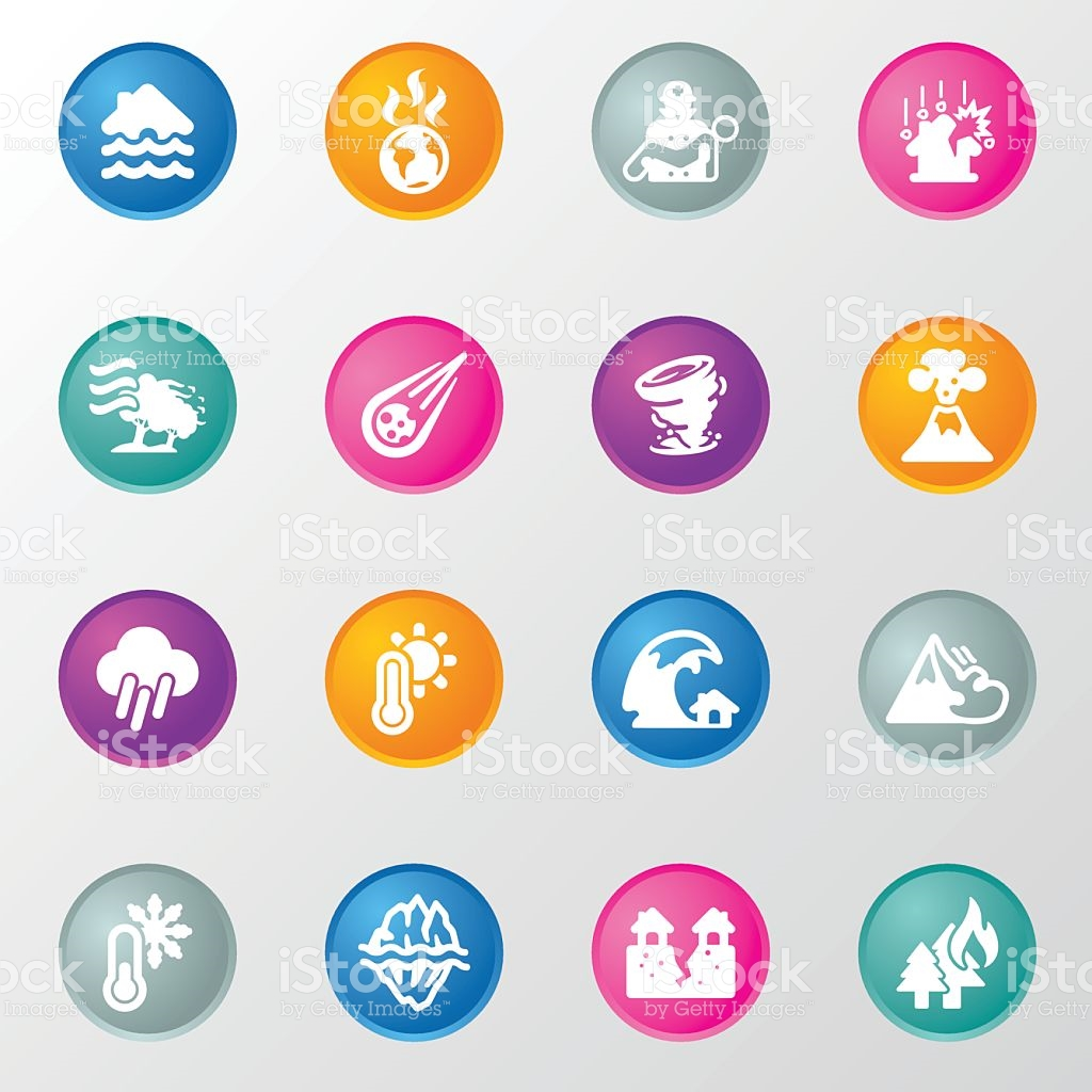 Disasters Circle Color Icons stock vector art 624371932.
