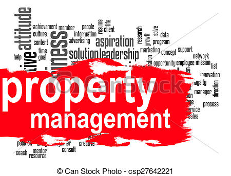 Stock Photo of Property management word cloud with red banner.