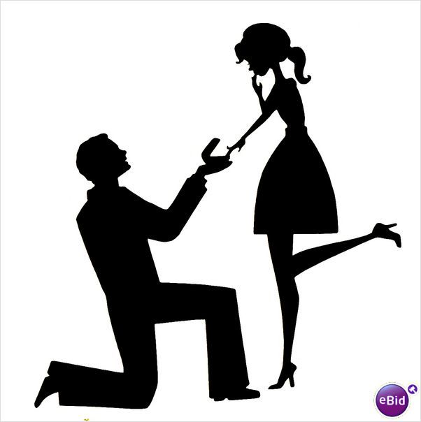 Marriage Proposal Silhouette Clipart.