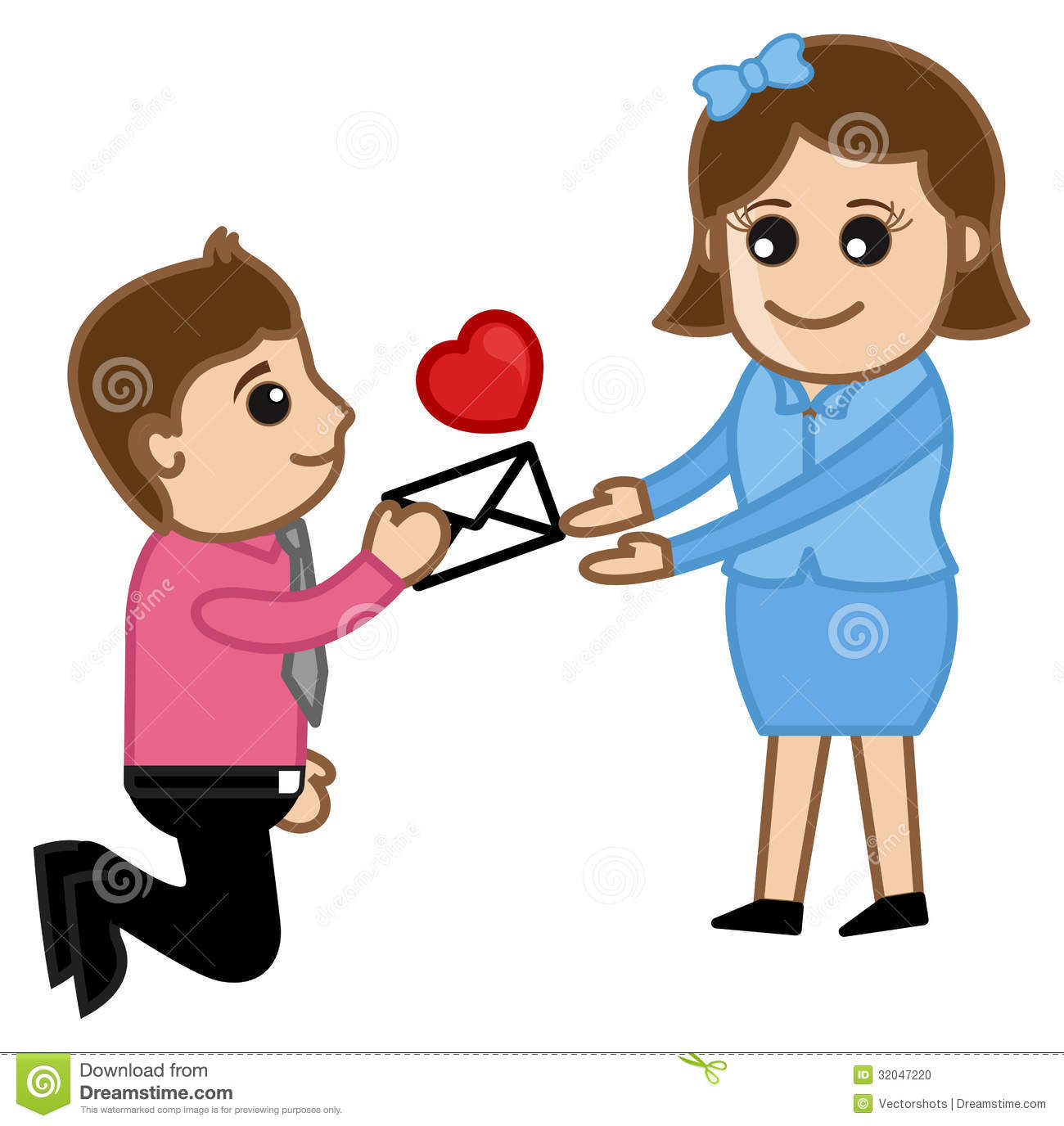 Boy Proposing A Girl With Flower Clipart.