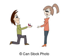 Vector Clipart of Marriage proposal.