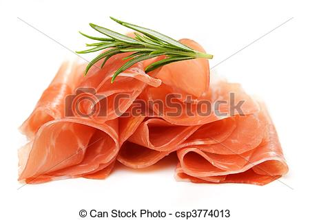 Stock Photos of Prosciutto, italian cured ham isolated on white.