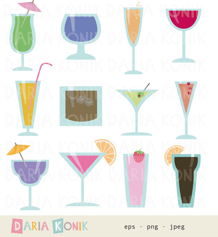 Cocktail Glasses Clip Art Set.