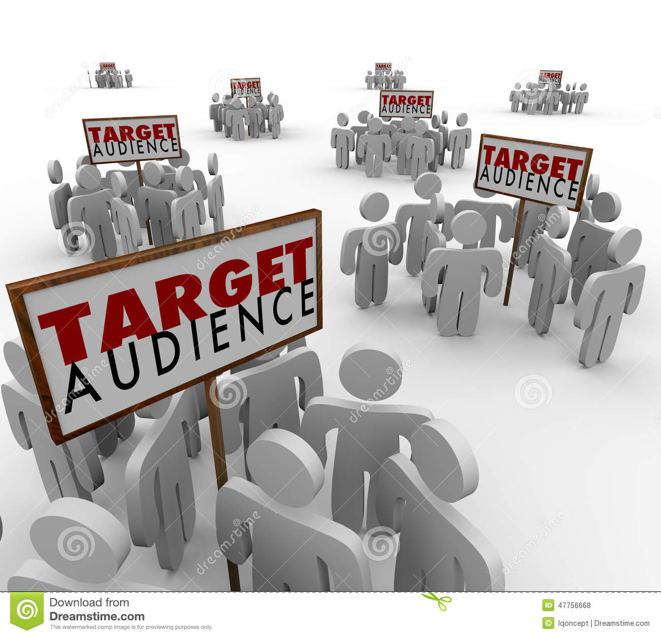 Target Audience Signs Customers Demo Groups Prospects Stock.