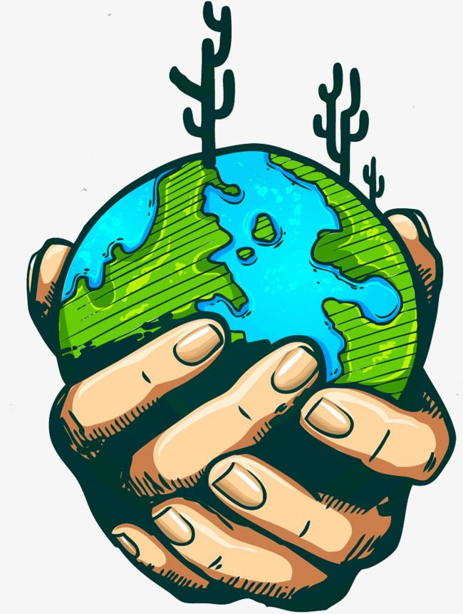 Protect The Earth, Earth Clipart, Cartoon, Hand Painted PNG.
