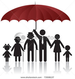 Art Image: Family Protected Under the Safety of an Umbrella.