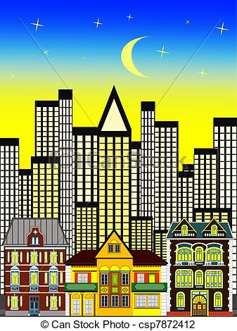 Clip Art of Old town.