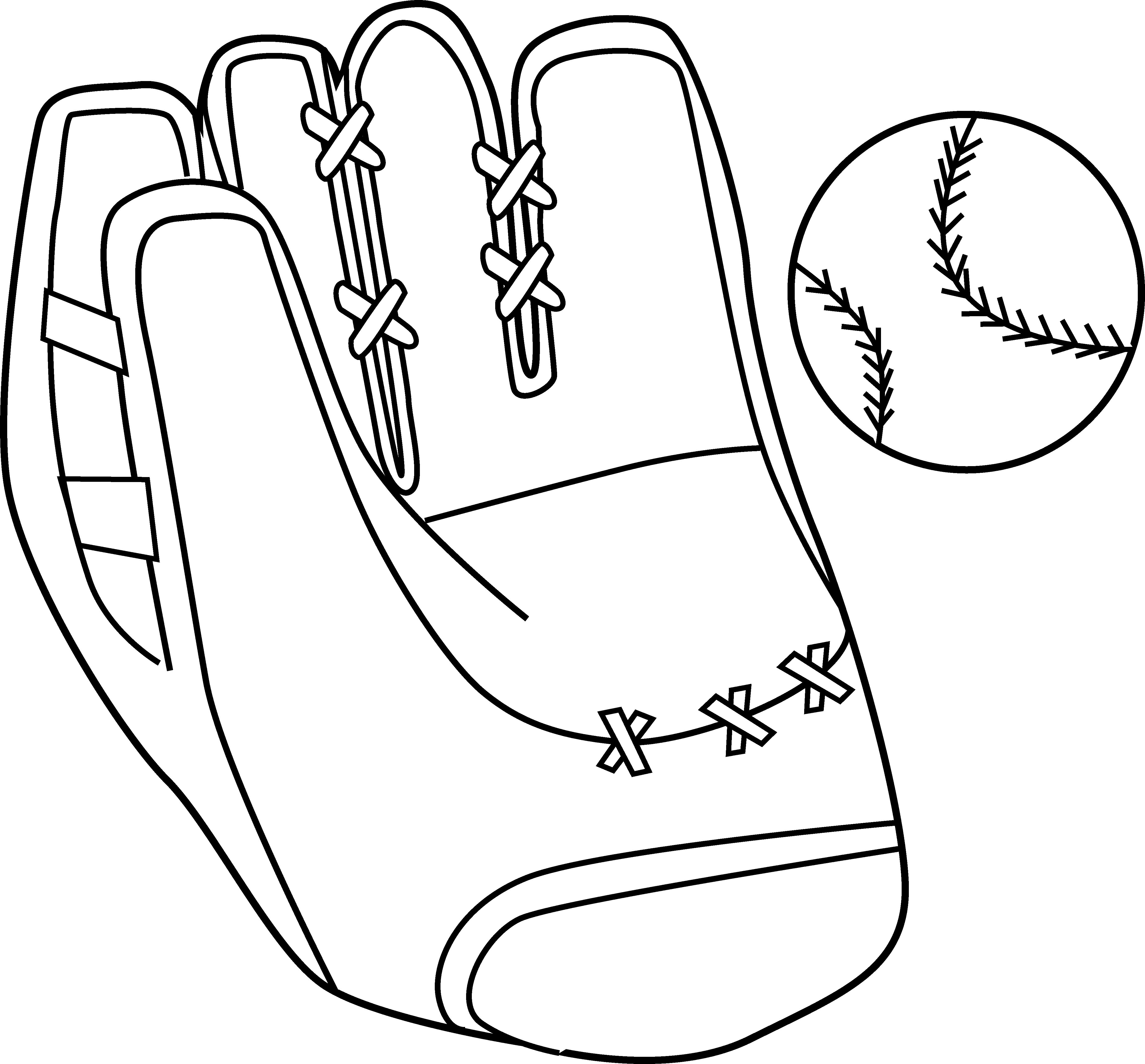 Baseball Mitt and Ball Coloring Page.
