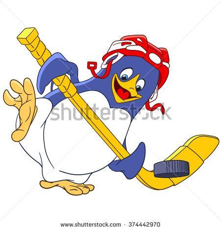 cute happy and sportive cartoon penguin.