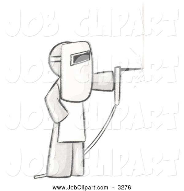 Job Clip Art of a Coloring Page of a Sketched Design Mascot Man.